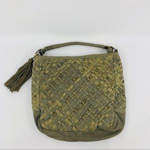 Tano Gray Woven Leather Tote Bag With Zipper